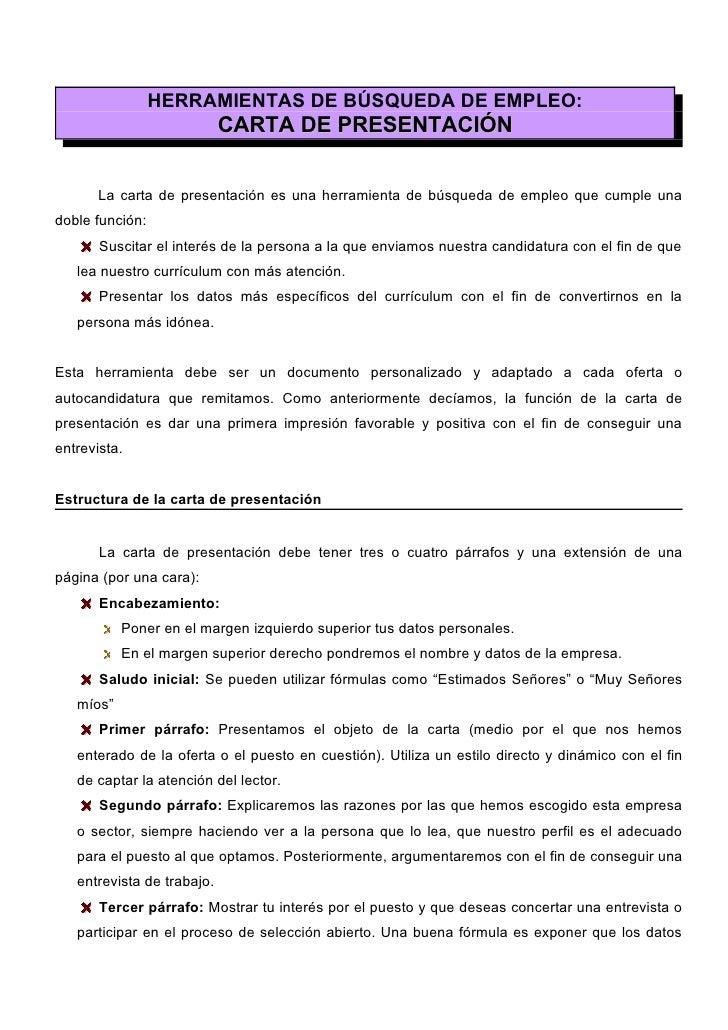 HERRAMIENTAS DE BÚSQUEDA DE EMPLEO:                             CARTA DE PRESENTACIÓN          La carta de presentación es...