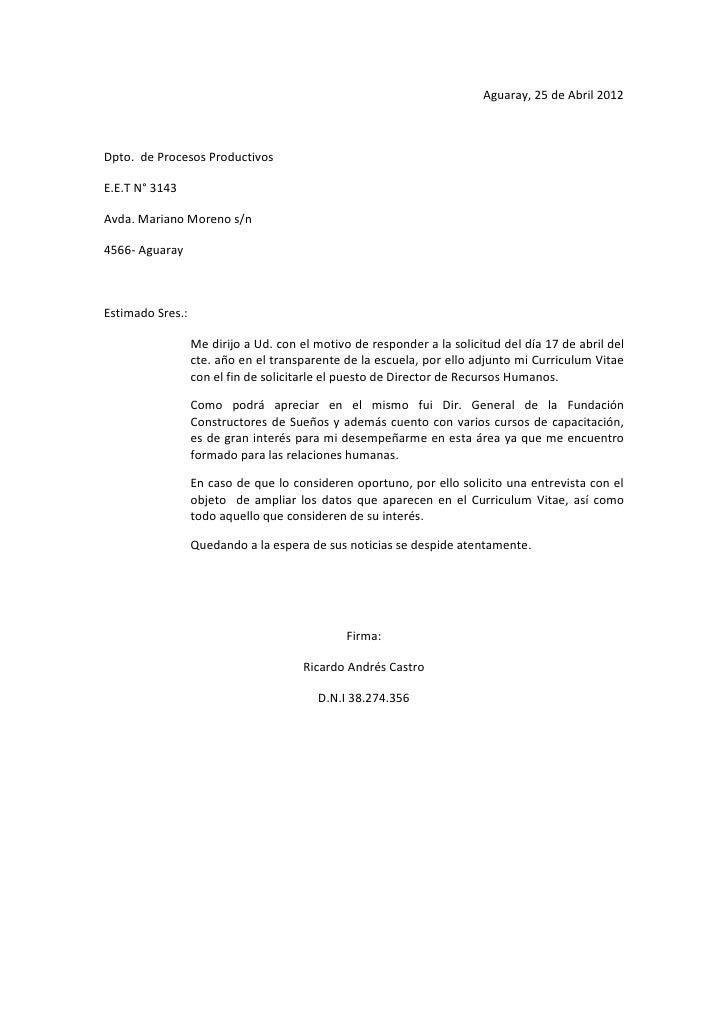 carta de presentacion castro r  f a t