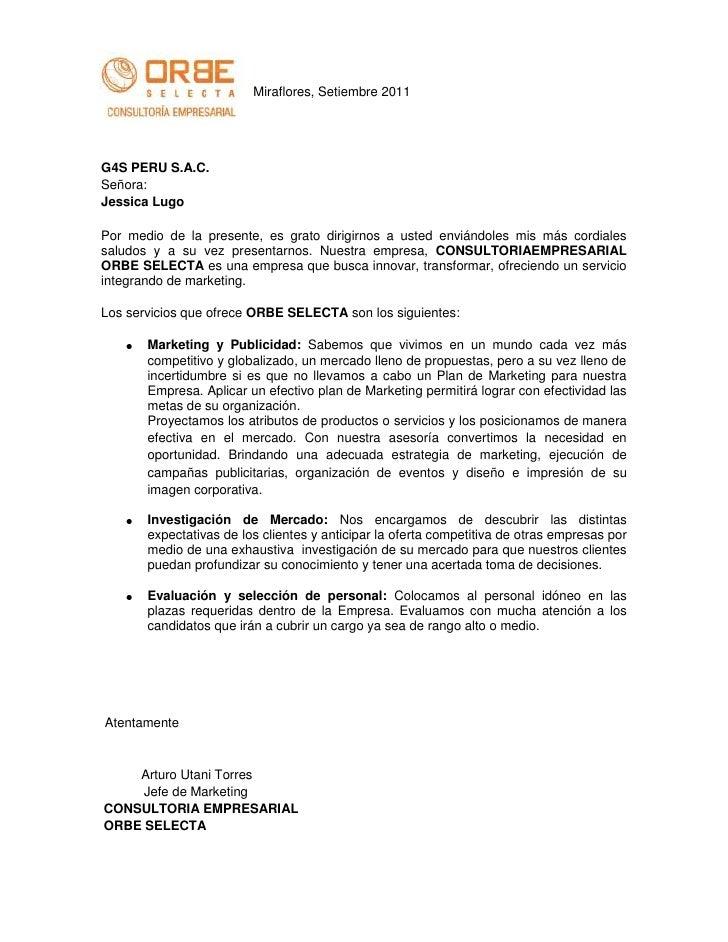 Miraflores, Setiembre 2011G4S PERU S.A.C.Señora:Jessica LugoPor medio de la presente, es grato dirigirnos a usted enviándo...