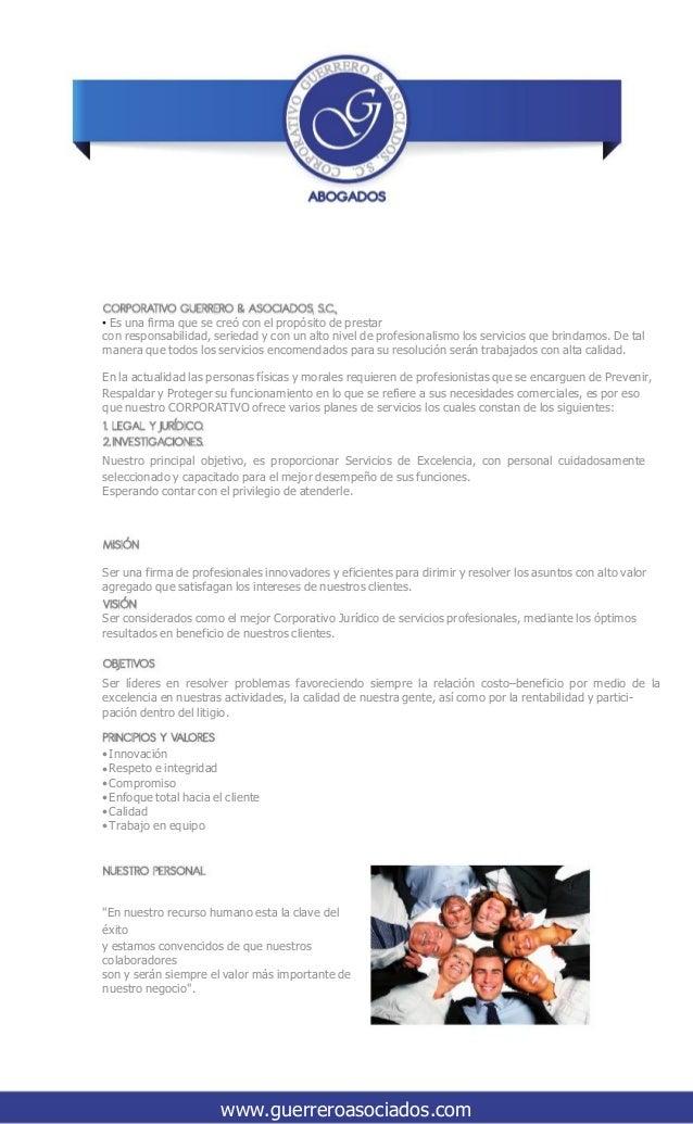 • Es una firma que se creó con el propósito de prestar con responsabilidad, seriedad y con un alto nivel de profesionalism...