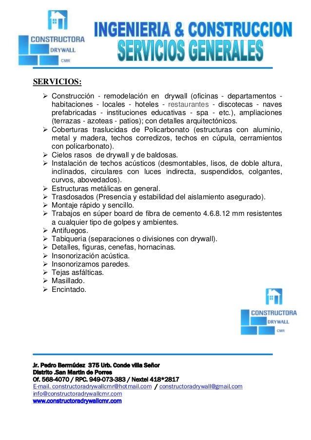 Carta de presentacion de cmr 2016 for Servicios de construccion