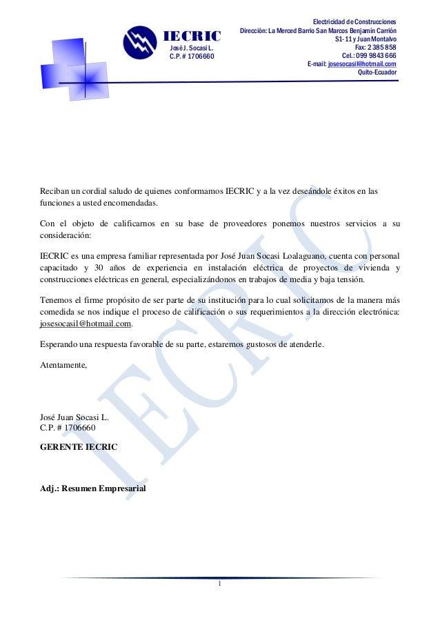 1  Electricidad de Construcciones  Dirección: La Merced Barrio San Marcos Benjamín Carrión  S1-11 y Juan Montalvo  Fax: 2 ...