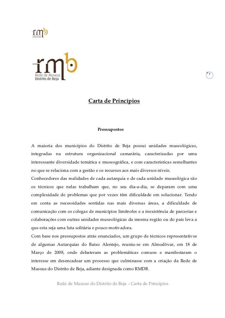 1                             Carta de Princípios                                  PressupostosA maioria dos municípios do...