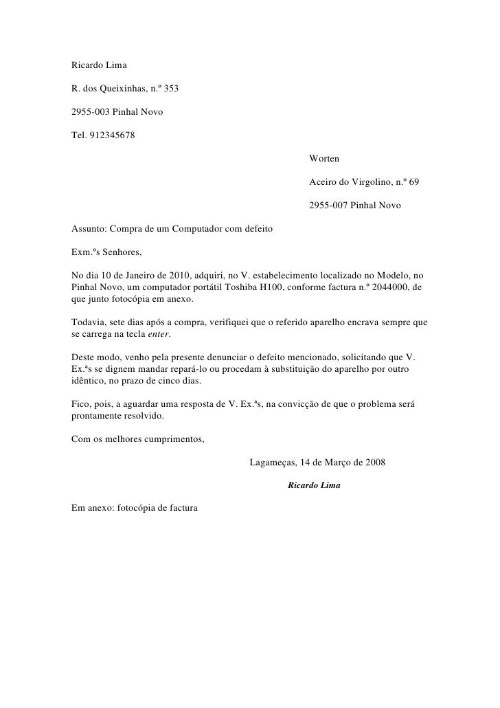 Ricardo Lima<br />R. dos Queixinhas, n.º 353<br />2955-003 Pinhal Novo<br />Tel. 912345678<br />Worten<br />Aceiro do Virg...