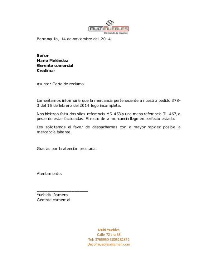 Barranquilla, 14 de noviembre del 2014  Multimuebles  Calle 72 cra 38  Tel: 3766950-3005282872  Decormuebles@gmail.com  Se...