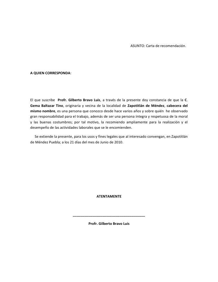 formato de carta de recomendacion personal