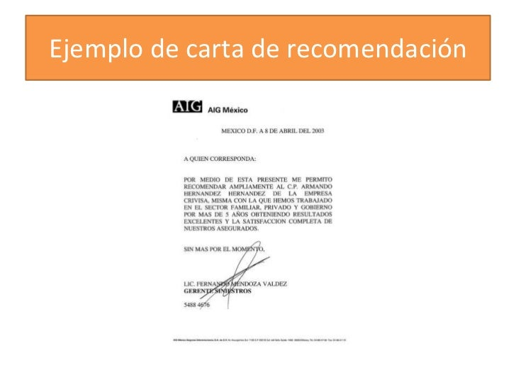cartas de recomendaciones personales ejemplos