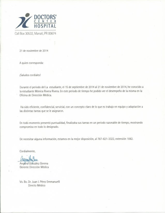 carta de recomendaci u00f3n doctors u0026 39  center hospital