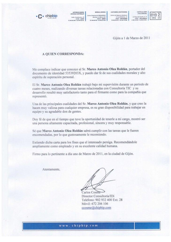 Carta de recomendación Marco A. Olea