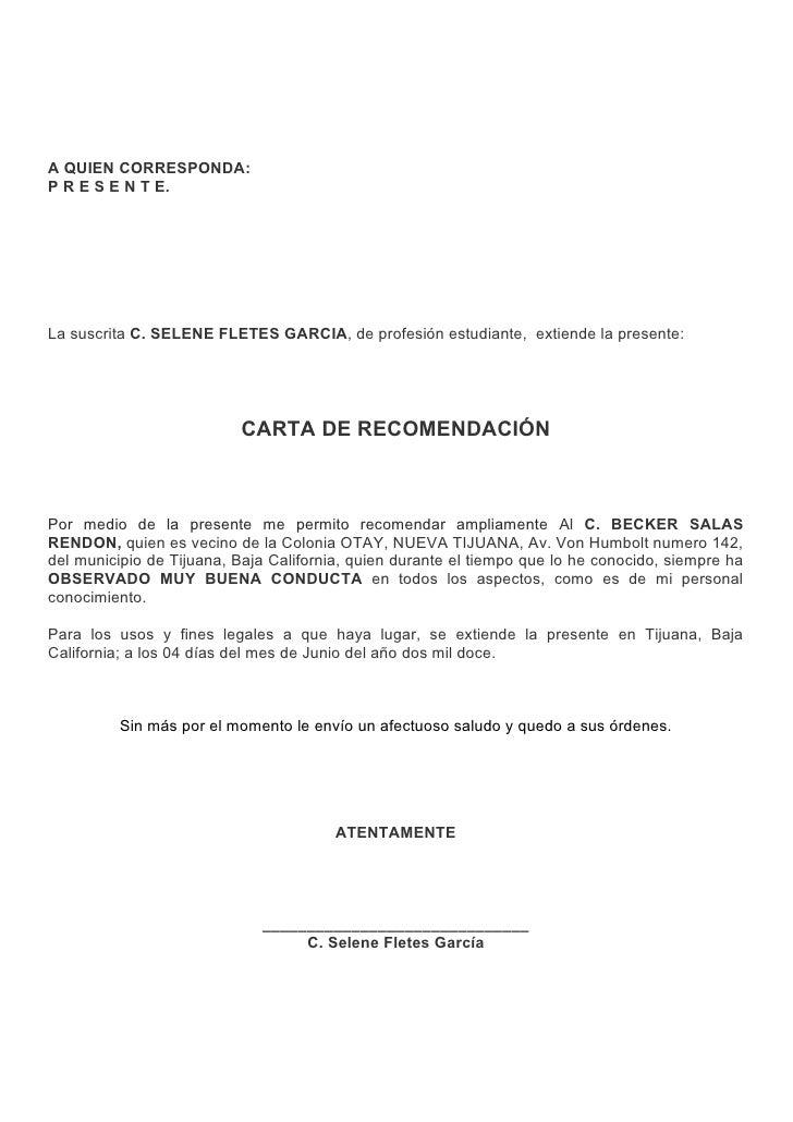 carta de recomendación profesional