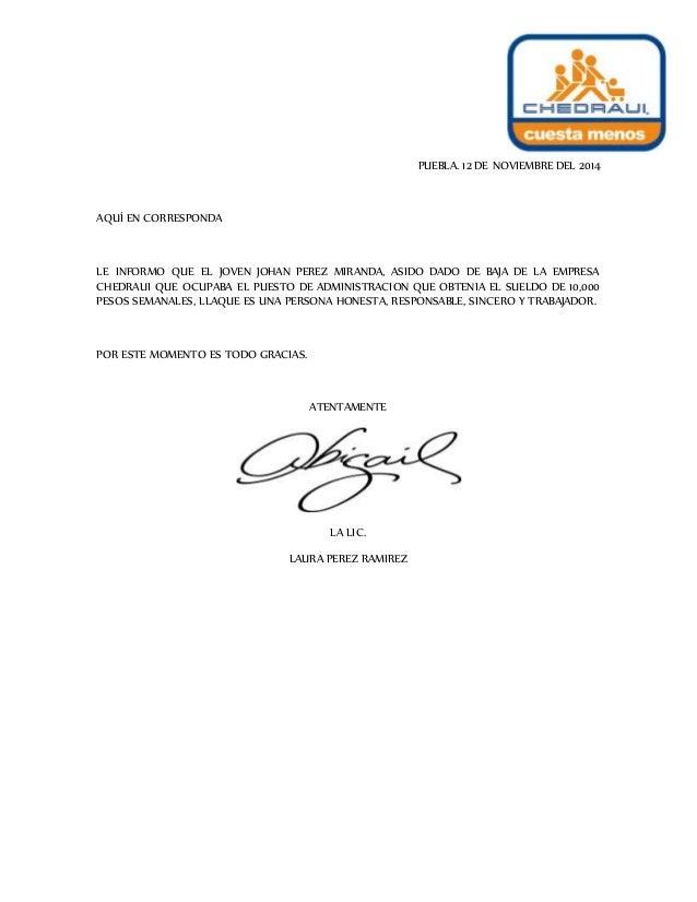 carta personal de recomendacion