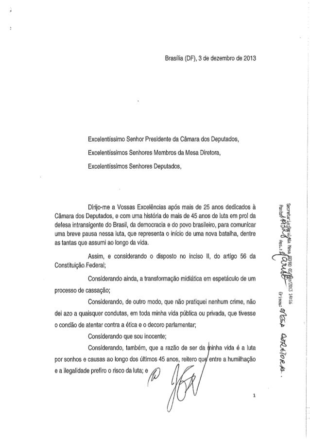 Carta de renúncia de josé genoino ao mandato de deputado federal