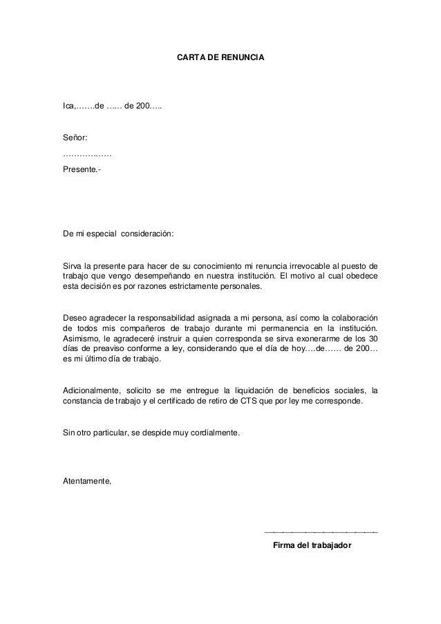 Carta de renuncia