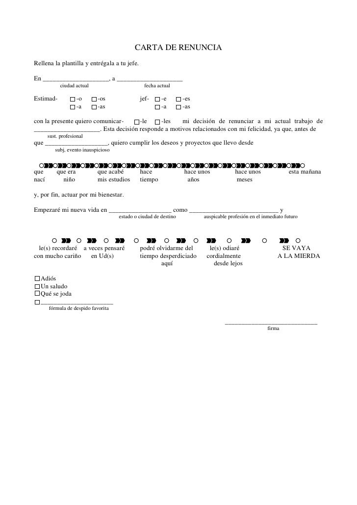 Carta de renuncia pdf