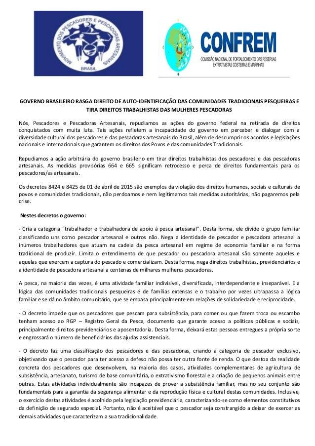 GOVERNO BRASILEIRO RASGA DIREITO DE AUTO-IDENTIFICAÇÃO DAS COMUNIDADES TRADICIONAIS PESQUEIRAS E TIRA DIREITOS TRABALHISTA...