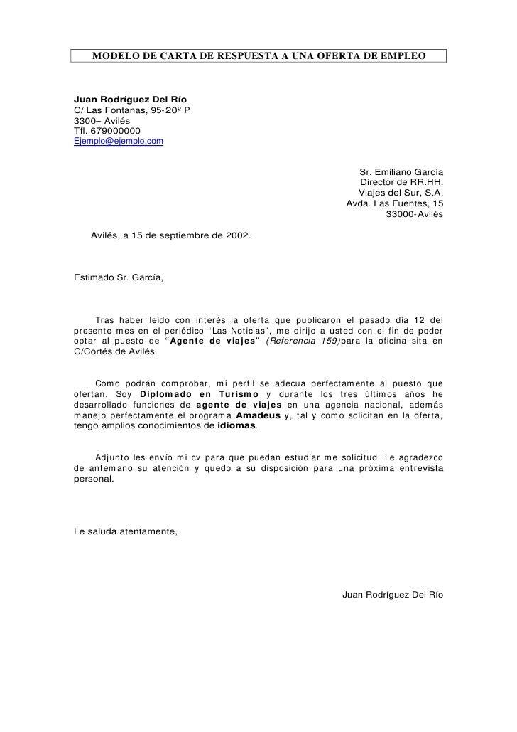 MODELO DE CARTA DE RESPUESTA A UNA OFERTA DE EMPLEO    Juan Rodríguez Del Río C/ Las Fontanas, 95- 20º P 3300– Avilés Tfl....