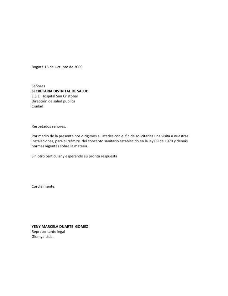 Bogotá 16 de Octubre de 2009<br />Señores<br />SECRETARIA DISTRITAL DE SALUD<br />E.S.E  Hospital San Cristóbal<br />Direc...