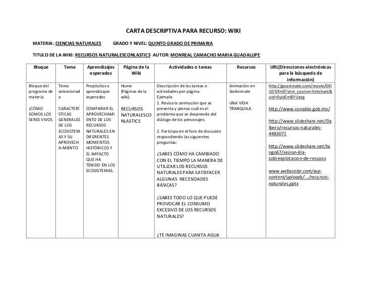 Carta descriptiva wiki for Memoria descriptiva de un colegio