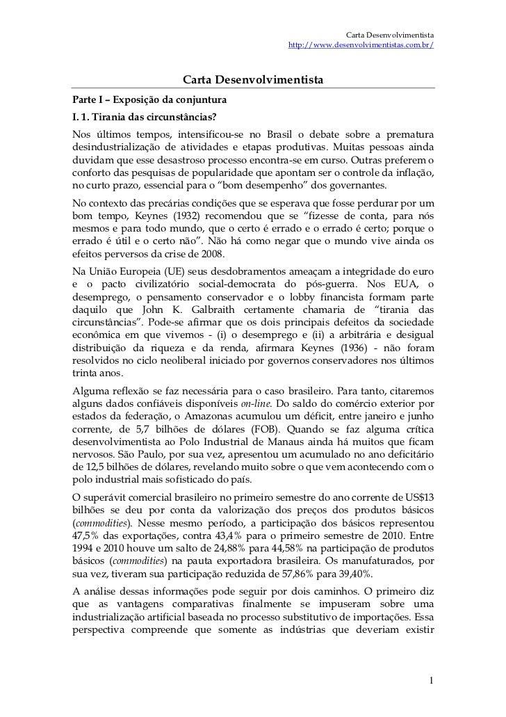 Carta Desenvolvimentista                                                http://www.desenvolvimentistas.com.br/            ...