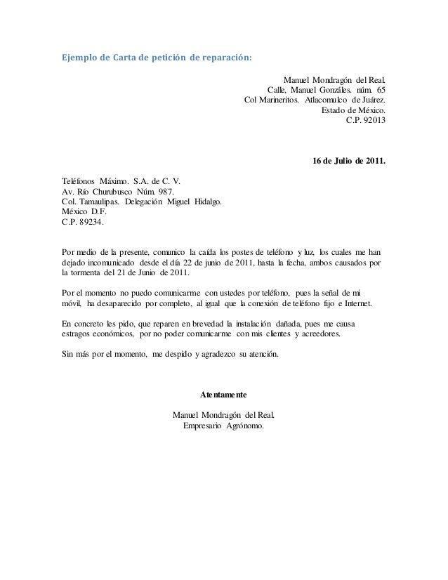 ejemplo de carta de peticion