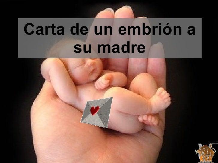 Carta de un embrión a su madre