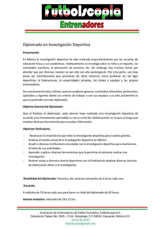 Diplomado Investigacion Deportiva Con Especialidad En Fútbol