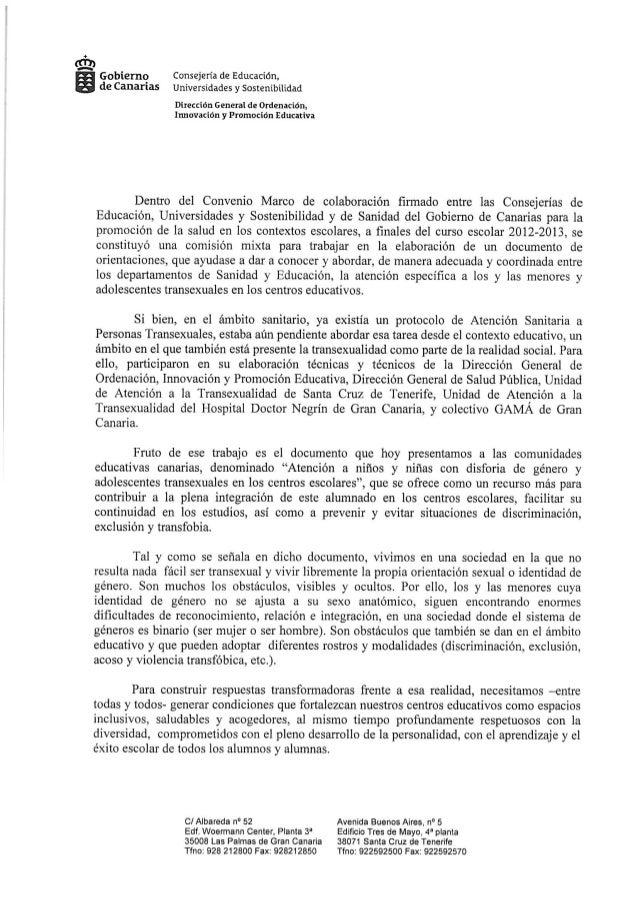 Carta directora general de ordenación, innovación y promoción educativa. atención al alumnado con disforia de género y ado...