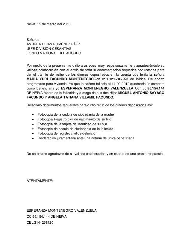 Carta fondo de cesantias