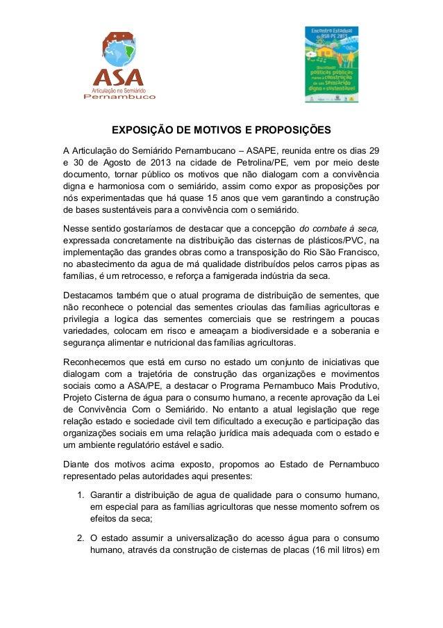 EXPOSIÇÃO DE MOTIVOS E PROPOSIÇÕES A Articulação do Semiárido Pernambucano – ASAPE, reunida entre os dias 29 e 30 de Agost...