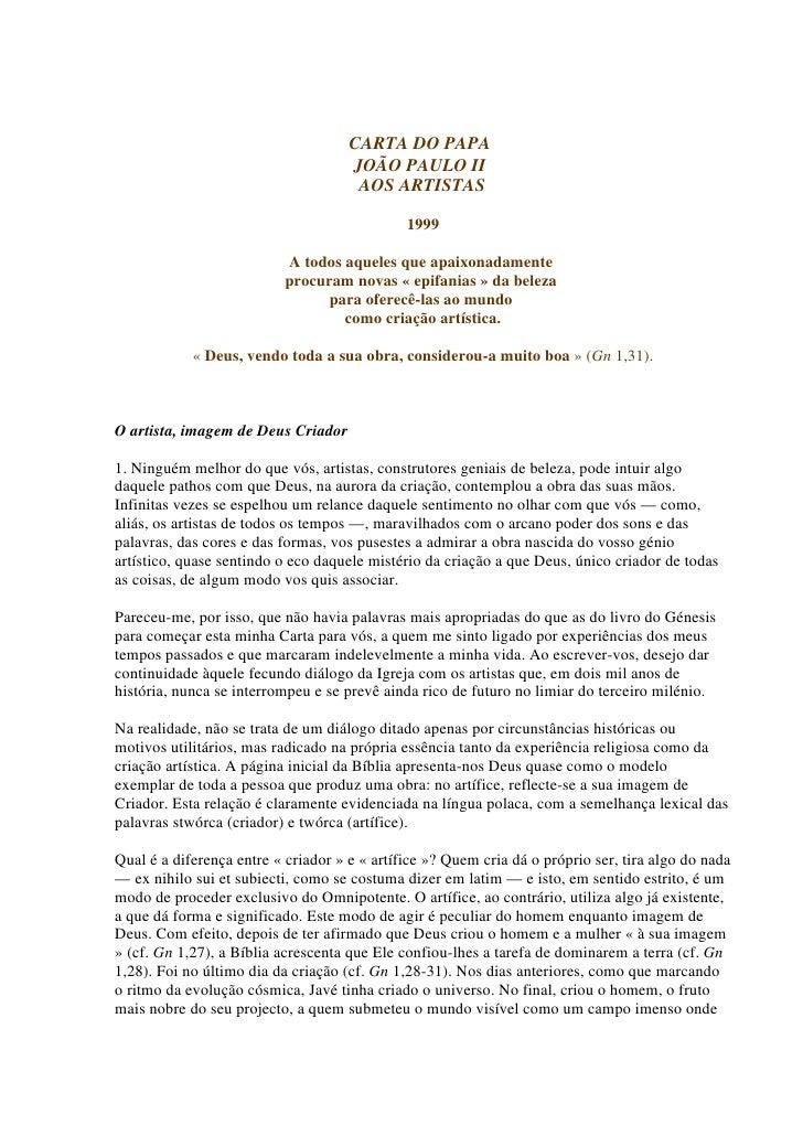 CARTA DO PAPA                                      JOÃO PAULO II                                       AOS ARTISTAS       ...