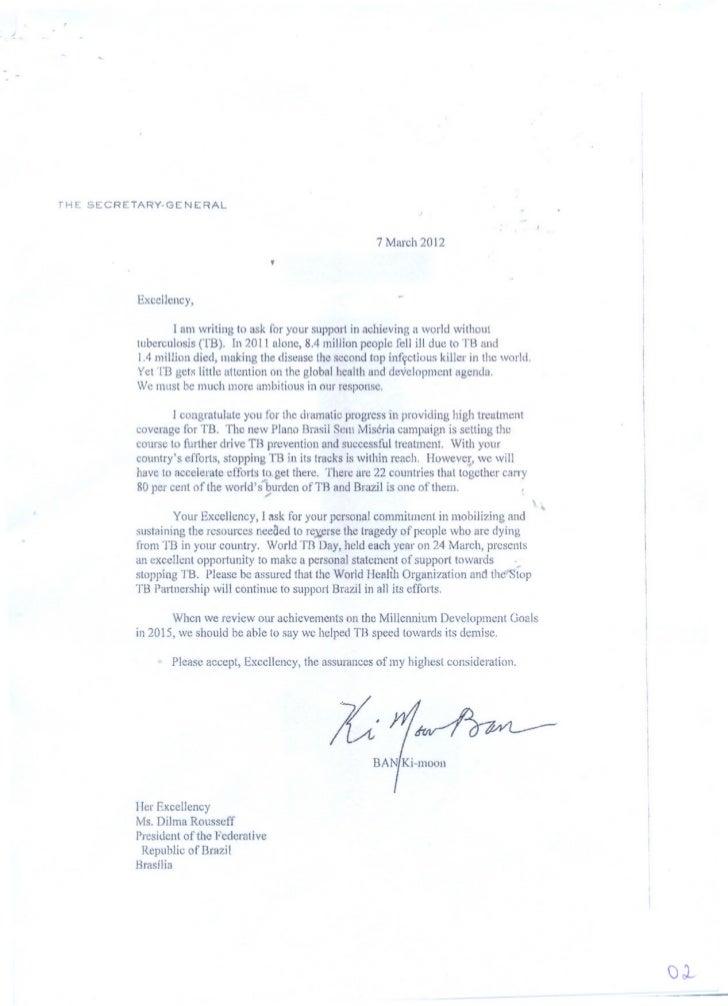 Carta do Secretario Geral da ONU