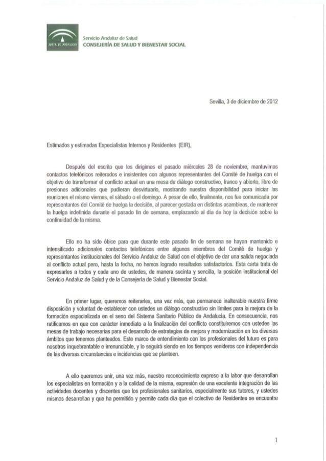 Carta a los Especialistas Internos Residentes de Andalucía