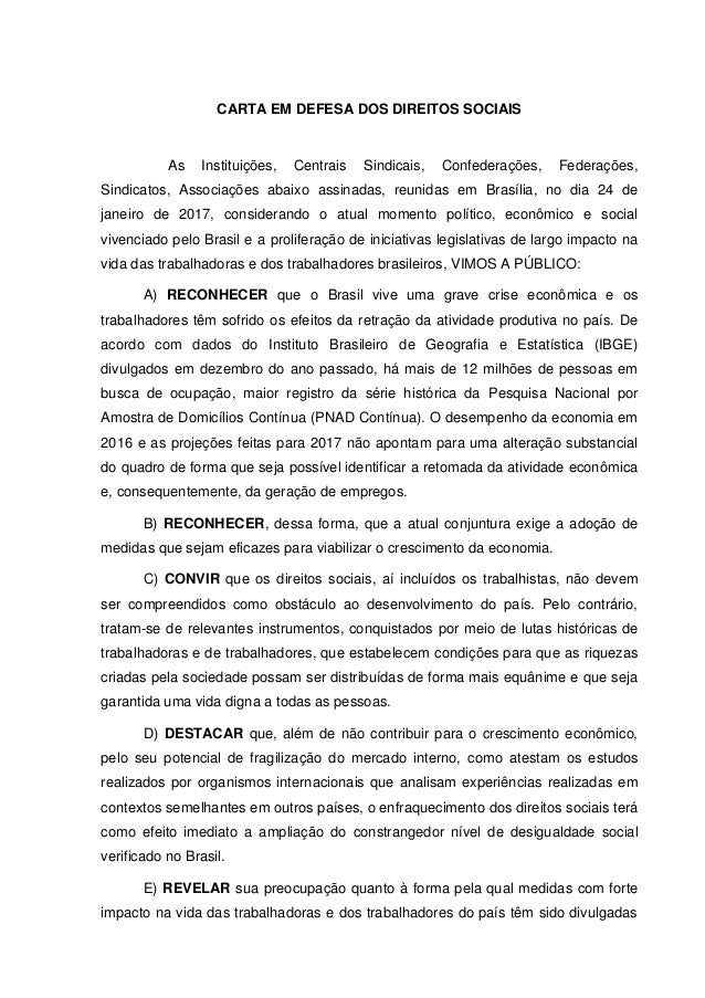 CARTA EM DEFESA DOS DIREITOS SOCIAIS As Instituições, Centrais Sindicais, Confederações, Federações, Sindicatos, Associaçõ...