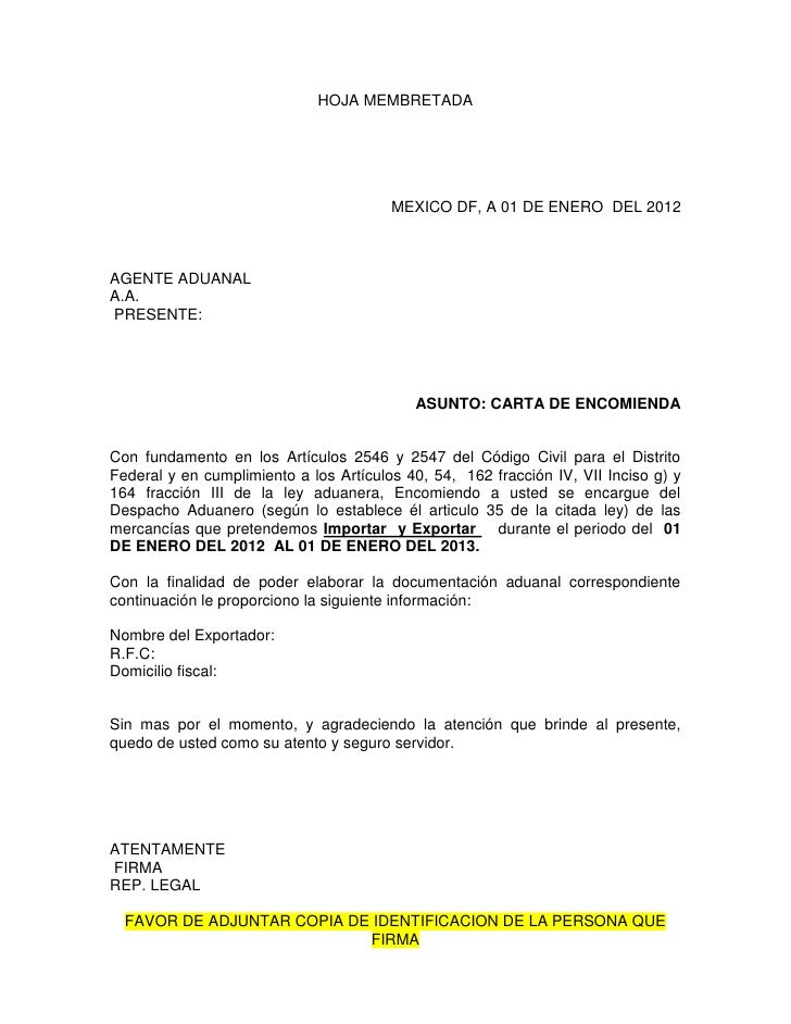Carta encomienda for Solicitud de chequera