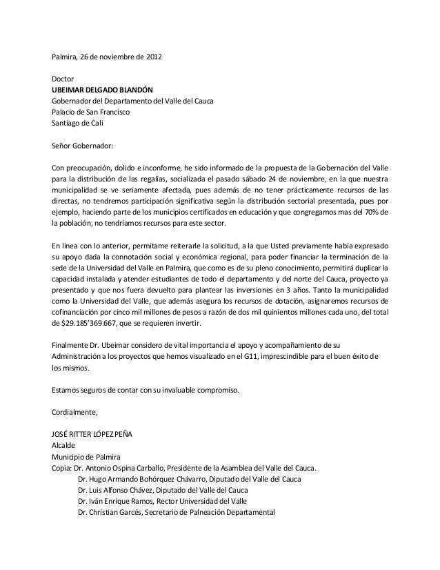 Palmira, 26 de noviembre de 2012DoctorUBEIMAR DELGADO BLANDÓNGobernador del Departamento del Valle del CaucaPalacio de San...