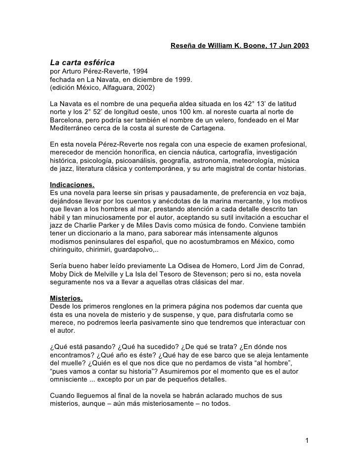 Carta esférica, reseña billy