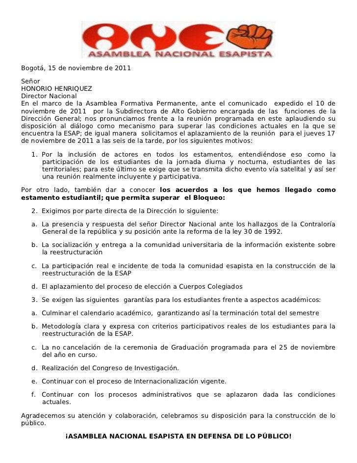 Bogotá, 15 de noviembre de 2011SeñorHONORIO HENRIQUEZDirector NacionalEn el marco de la Asamblea Formativa Permanente, ant...