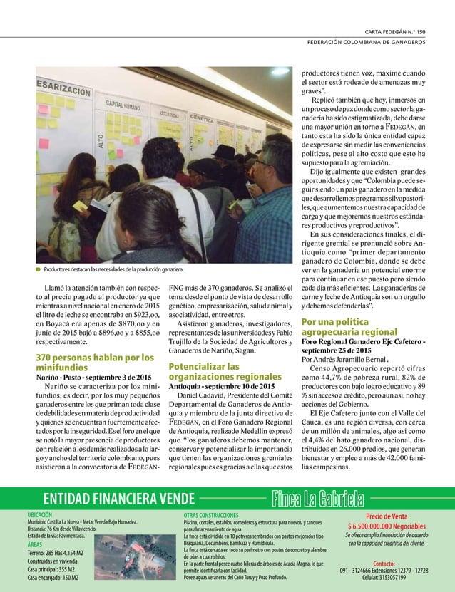 """15 FEDERACIÓN COLOMBIANA DE GANADEROS carta fedegÁn N.° 150 Mejor Expositor Mejor Criador """"Ganaderos debemos aprovechar to..."""