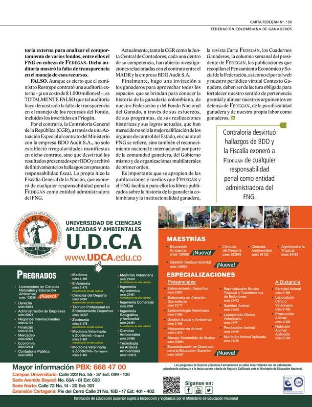 29  FEDERACIÓN COLOMBIANA DE GANADEROS carta fedegÁn N.° 150 FEDEGAN Separata