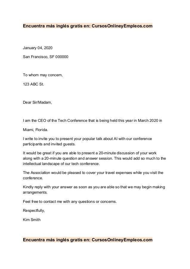 Encuentra m�s ingl�s gratis en: CursosOnlineyEmpleos.com January 04, 2020 San Francisco, SF 000000 To whom may concern, 12...