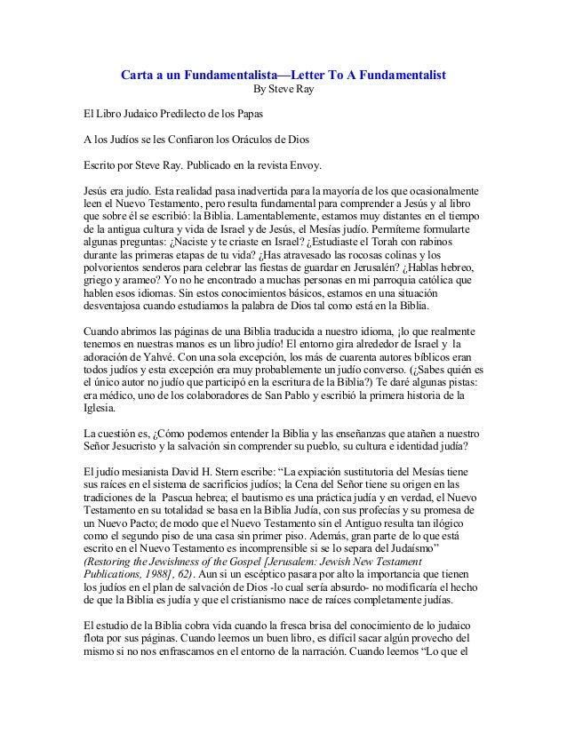 Carta a un Fundamentalista—Letter To A Fundamentalist                                      By Steve RayEl Libro Judaico Pr...
