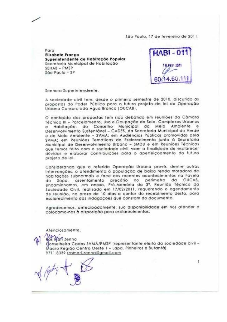 Carta à Secretaria de Habitação