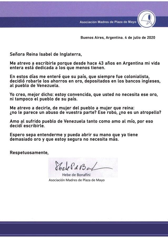 Hebe de Bonafini envía carta a reina Isabel sobre oro venezolano ...