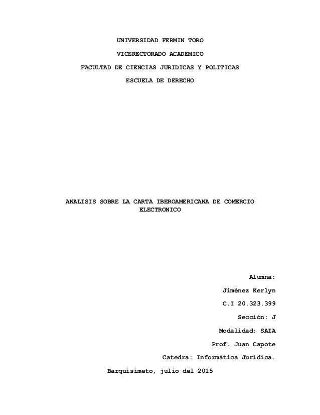 UNIVERSIDAD FERMIN TORO VICERECTORADO ACADEMICO FACULTAD DE CIENCIAS JURIDICAS Y POLITICAS ESCUELA DE DERECHO ANALISIS SOB...