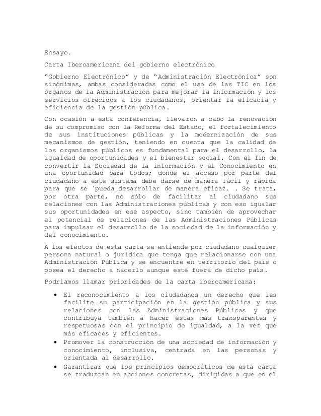 """Ensayo. Carta Iberoamericana del gobierno electrónico """"Gobierno Electrónico"""" y de """"Administración Electrónica"""" son sinónim..."""
