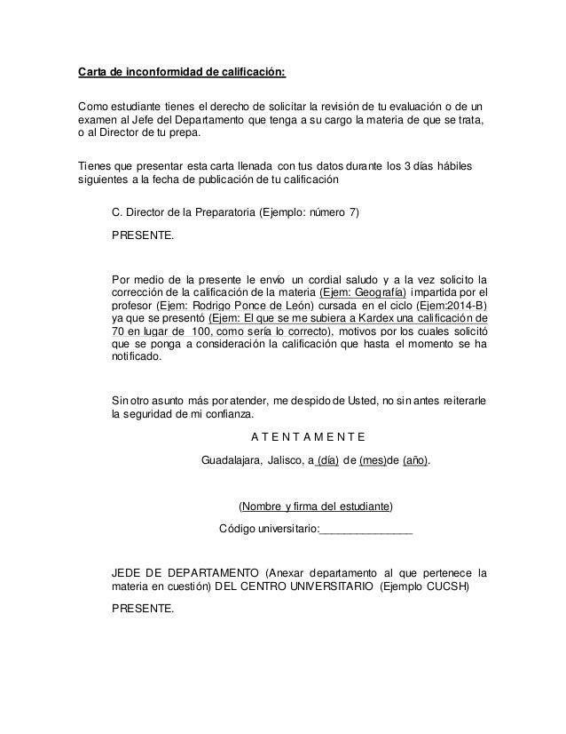 Carta De Inconformidad De Calificación