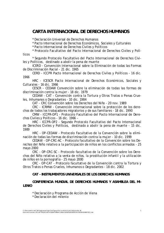 CARTA INTERNACIONAL DE DERECHOS HUMANOS           * Declaración Universal de Derechos Humanos           * Pacto Internacio...
