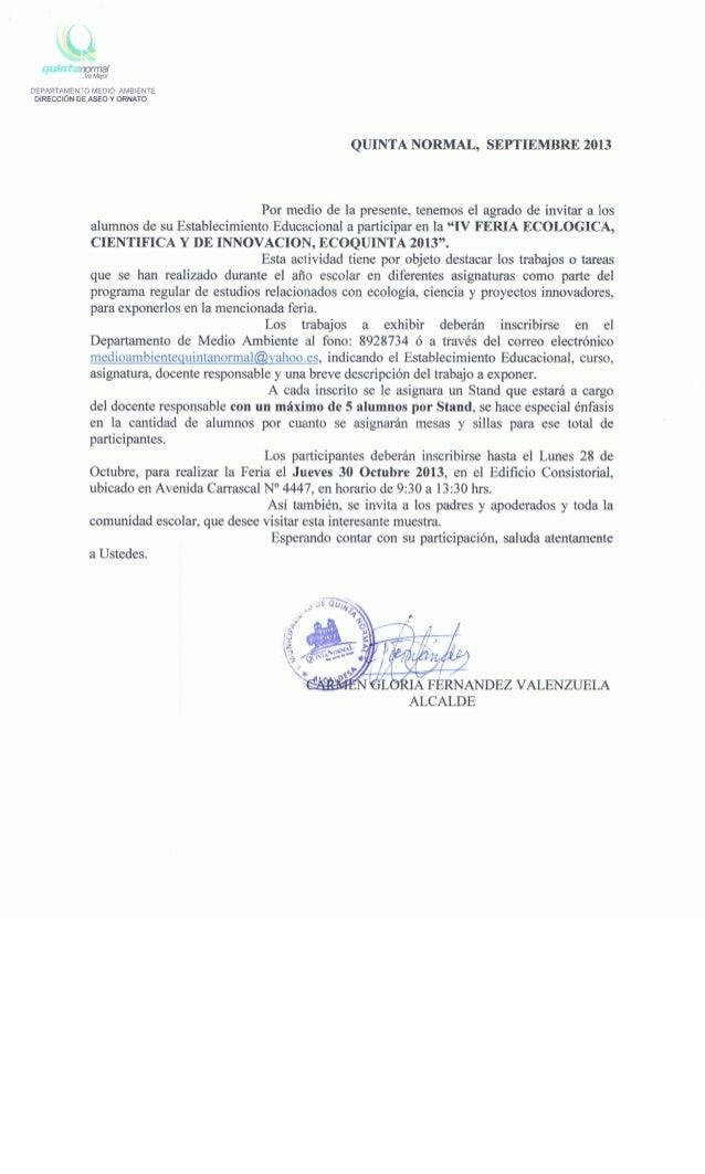 Carta invitacion ecoquinta