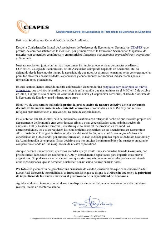 Confederación Estatal de Asociaciones de Profesorado de Economía en Secundaria Estimada Subdirectora General de Ordenación...