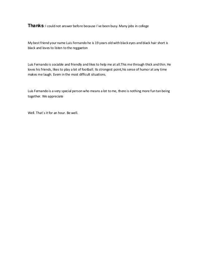 carta mejor amiigo trabajo de ingles enviar el lunes